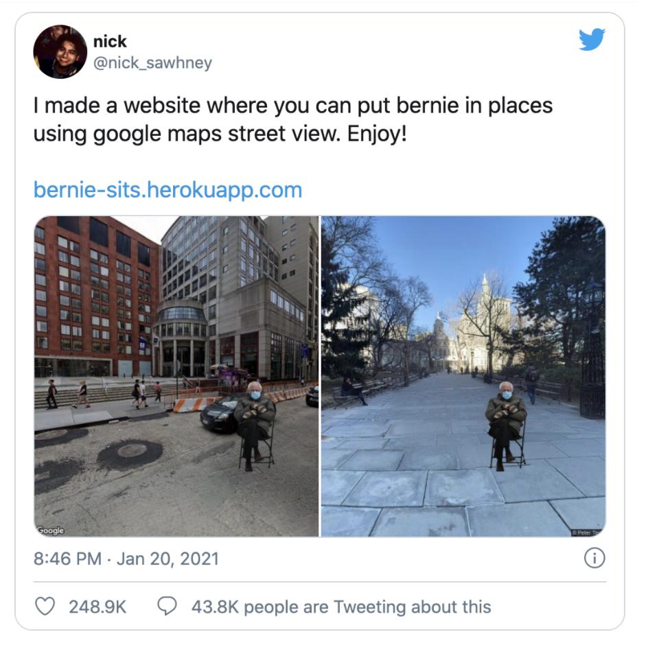 Bernie's Meme generator using Google Maps